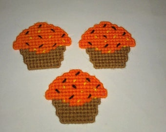 3 Handmade Halloween Color Cupcake Magnets Plastic Canvas