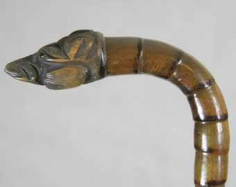 Carved dog cane - antique bamboo look - walking sitck - aged patina