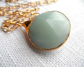 Large Chalcedony necklace - gold necklace - sea foam green necklace - aqua necklace - A M E L I A 102