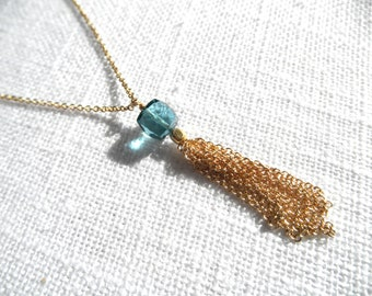 London blue topaz tassel necklace - london blue topaz necklace - gold tassel necklace - gold necklace - A M E L I A 120