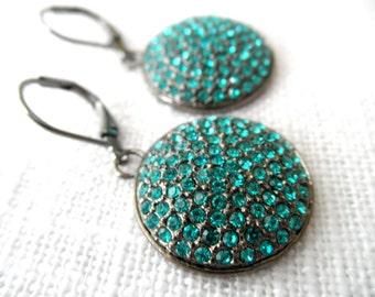 Turquoise Swarovski crystal earrings - oxidized silver earrings - swarovski crystal earrings - E A R R I N G S 129