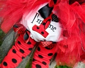 Ladybug First Birthday Girl Bloomers, I'm One, Baby Toddler Girl, Red and Black, Number One