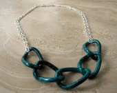 Chunky Chain Necklace - Teal Green and Silver Chain Necklace - Stellar Statement Necklace No. 2
