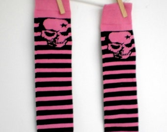 Pink and Black Stripe with Skull Leg Warmers- Crawlers for Babies
