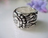Tooled Leather Wrap Ring in Fine Silver