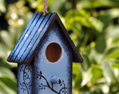 Small Hand Painted Bird House with swirly tree, cat and owl