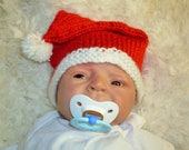 Baby Santa Hat with Pom Pom - Choose your Size  - Great Photo Prop