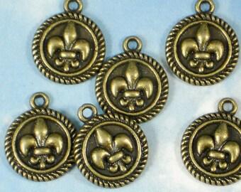 SaVE 30% BuLK 40 Fleur de Lis Round Charms Bronze Tone Rope Edge Disk Dangles FDL  Nola Cajun (P142 -40)