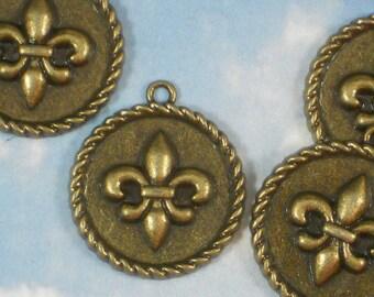 BuLK 15 Fleur de Lis Charms Medallion Antique Bronze Tone Rope Edge 24mm Round Pendants (P993 -15)