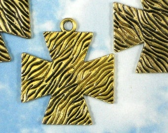 3 Gold Maltese Cross Pendants Tree Bark Texture 39mm Large Charms - 1960s anyone (P066)