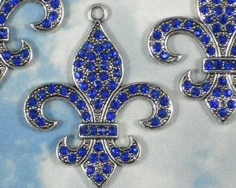 Lovely Sapphire Fleur de Lis Pendant Rhinestone Blue Crystals & Silver 46mm NOLA (P1032)