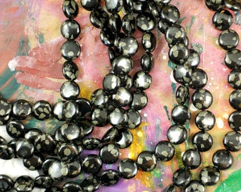 35 Black Jet & Pyrite Coin Beads 12mm Polished (5138)