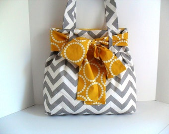 Large Bag with Yellow Bow made of Grey and White Chevron Fabric