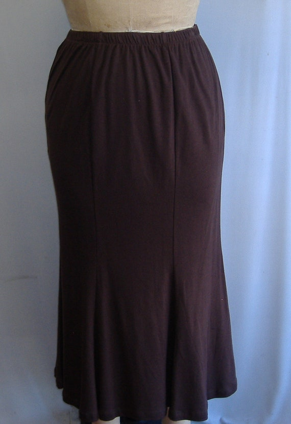 Coco and Juan Plus Size Espresso Brown Cotton Knit Gored Skirt Size 1X