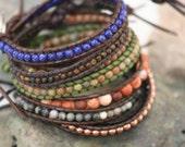 earthwrap : SAGE mens leather beaded wood beads rustic minimalist wrap bracelet