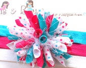 I LOVE Being a LITTLE Girl Boutique Baby Girl Korker Hair Bow Clip Shimmery Elastic Headband
