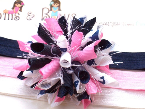 Beachy Lil Whale Watcher in Pink Navy Boutique Baby Girl Korker Hair Bow Clip Shimmery Elastic Headband