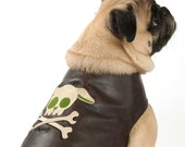 Brown Pleather Dog Jacket Coat with Skull and Bones Embroidered Design