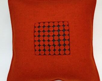 Felt Pillow in Orange Felt, Burnt Orange Felt Pillow, Graphic Orange Pillow, 100 Percent Wool Felt Pillow -- Free US Shipping