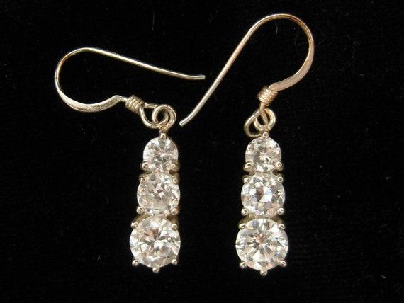 Vintage Sterling  Rhinestone Faux Diamond Drop Earrings Wedding
