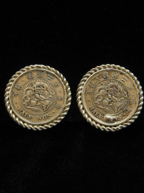 Vintage Bergere Huge Asian Coin Earrings