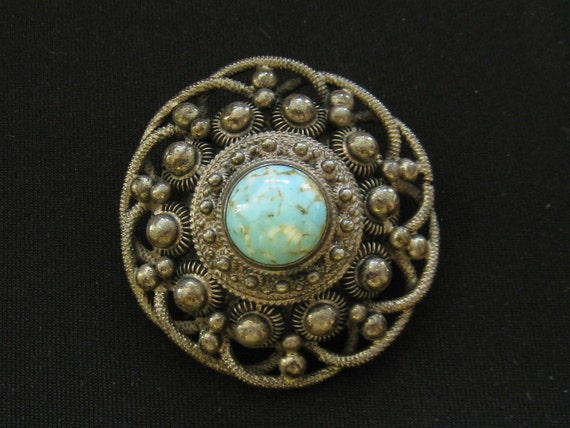 Vintage Asian Silver Turquoise Large Brooch Pin 1950s