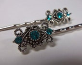 Teal Elegant Swarovski Element Crystal Silver Bobby Pins