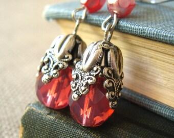 Persephone Princess - Pink glass silver flower earrings - Elysia