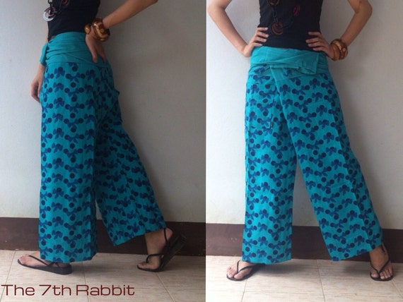 Blue Long Fisherman Wrap Pant with Lovely Bow Printed