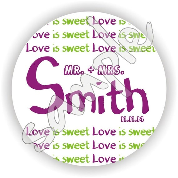 Love is Sweet - Personalized circle stickers - Set of 5 sheets - Wedding - Monogram - Bridal Shower - Thank You - Favor Tag - Personalized