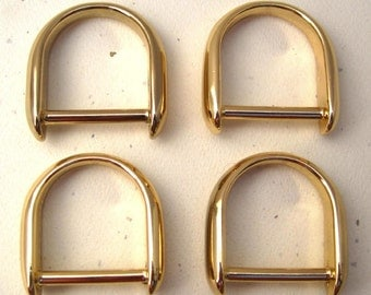 2 Gold Plated  D-Rings Diecast - 1 Inch