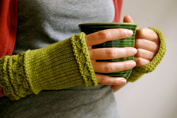 Fingerless Gloves, Mittens, Hand Knit in Lime Green Wool