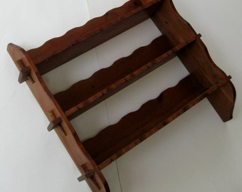 Vintage Wooden Shelf Spoon Holder Walnut Finish Scalloped Edges 1950s
