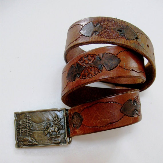 Vintage Brass Buckle Tooled Leather Belt Country Western Elk Pine Trees 1970