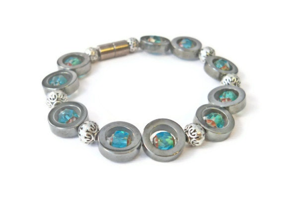 Black Magnetic Hematite Bracelet with Aquamarine, Magnetic Bracelet, Hematite Health Bracelet, Hematite Stone Jewelry, Healing Bracelet