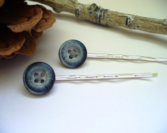 Vintage Blue Button Bobby Pins Hair Jewelry Gift for Her