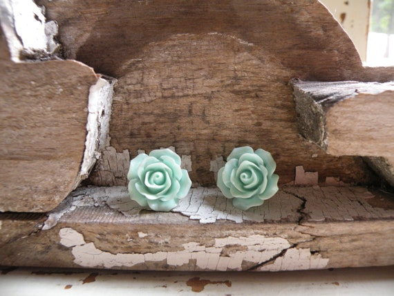 earrings shabby cottage rose stud button fresh spring easter mothers day blossoms feminine sweet simple
