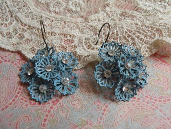 reserved BLUE JEANS vintage assemblage earrings shabby enamel flowers simple rhinestones unique ooak