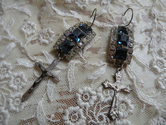MIDNIGHT vintage assemblage earrings fresh fall religious faith blue rhinestones unique shabby chic ooak