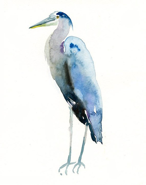 GREAT blue HERON Original watercolor painting 8X10inch(Vertical orientation)
