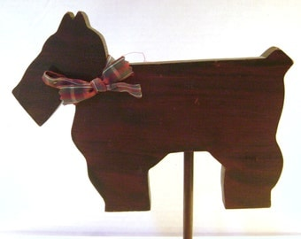 Vintage Scottie Dog Folk Art, Youth Fair, Scout Project, Primitive Wood Cut Out, Painted Two Sides, Sassy, Puppy, Red Plaid Bow, On a Stick