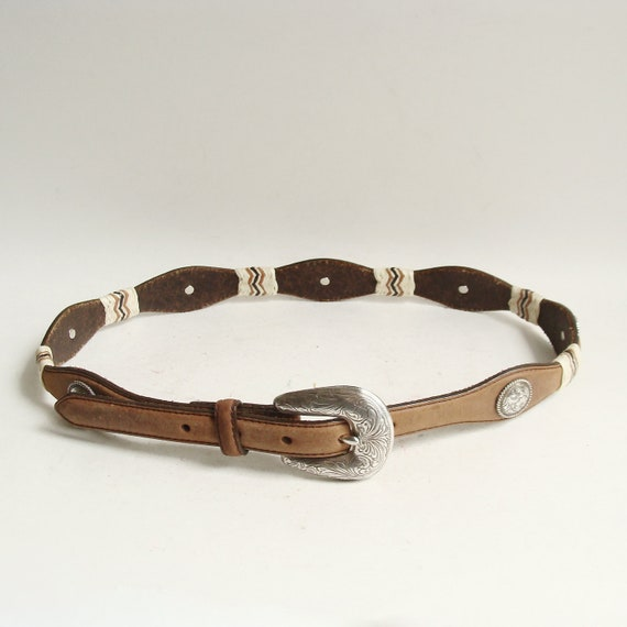 RESERVED for ddcy - western belt / Tony Lama concho belt / braided rawhide cowboy belt / southwestern belt / vintage belt