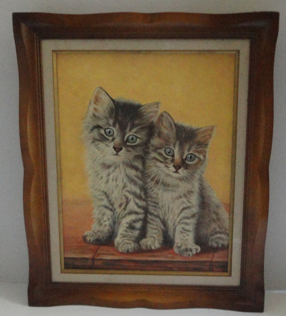 1963 Pussy Cats Framed Painting.