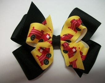 Toddler Hair Bow, Firetruck, Red Yellow and Black,  Double Boutique Hair Bow