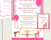 Gymnastics Birthday Party Invitation - digital files - gymnastic Party kit 4 pcs