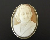 Vintage Brooch Cameo Brooch Pendant  Sterling Silver Hand Carved Custom Made Fine Jewelry