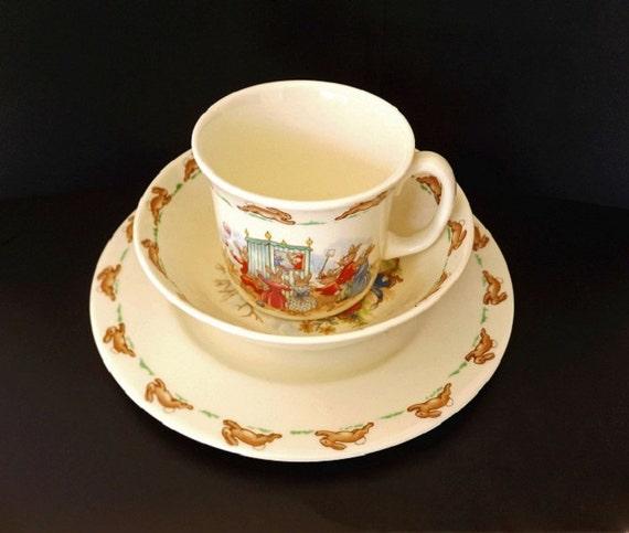 Vintage 1936 Royal Doulton Childs Dish Set Plate Cup Bowl