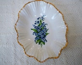 Vintage Serving Candy Dish China Dish 1950's  Forget Me Nots by Holley Ross