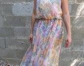 Vintage 70s Sheer airy Chiffon Pastel Floral Picnic Dress