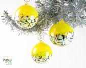 Blown Glass Christmas Ornament Suncatcher Ball Yellow Blossom